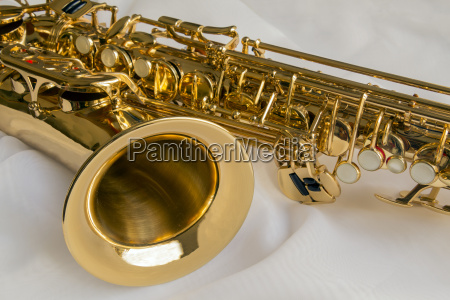 saxophone on a white silk