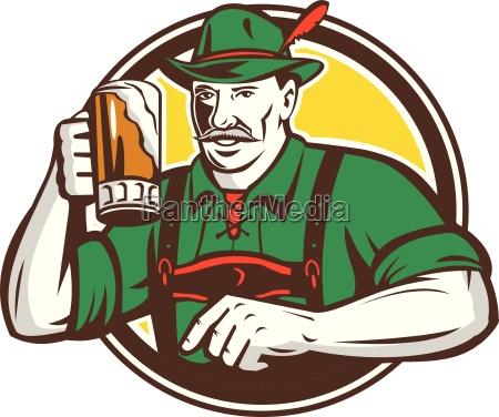 oktoberfest bavarian beer drinker circle retro
