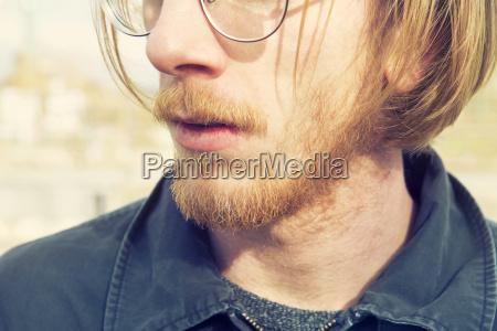 closeup of man with red beard