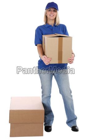 paket versand frau post lieferung liefern