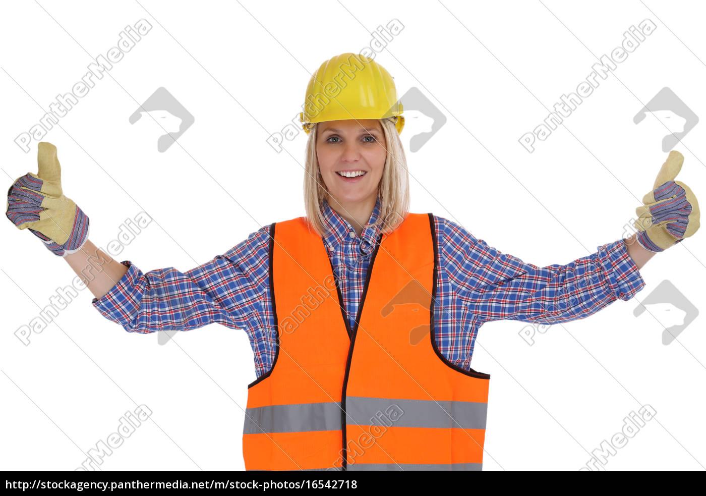 Bauarbeiter Junge Frau Bauarbeiterin Beruf Arbeiter Stock Photo