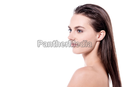 caucasian woman with bare shoulders