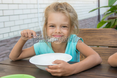satisfied six year old girl at