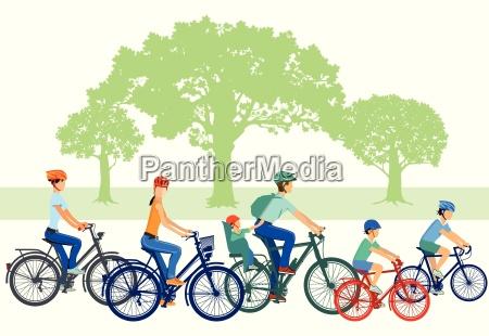 fahrradfahren mit kindern und familie