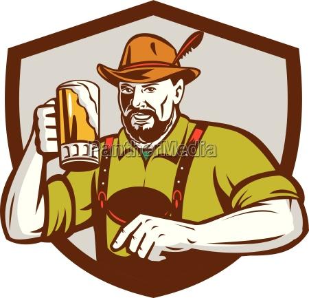 oktoberfest bavarian beer drinker shield retro