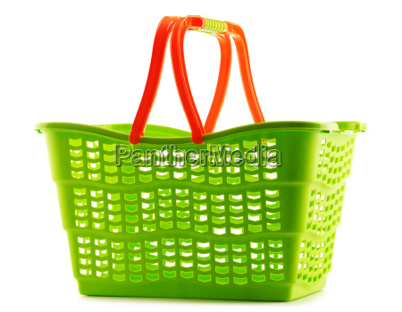 empty plastic shopping basket isolated on