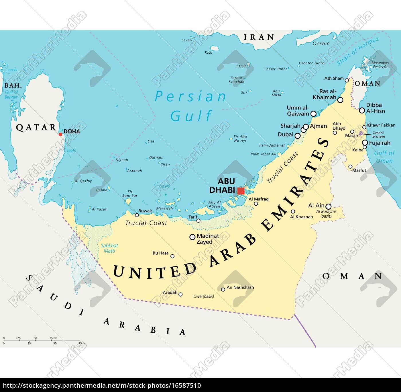 Vereinigte Arabische Emirate Politische Karte Stockfoto