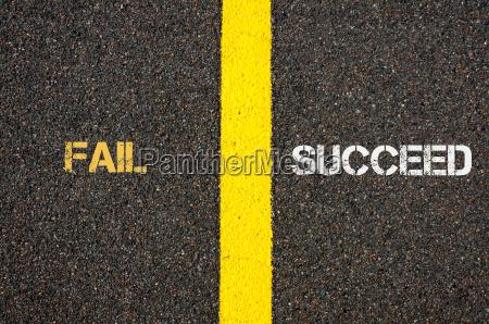 antonym konzept von fail gegen succeed