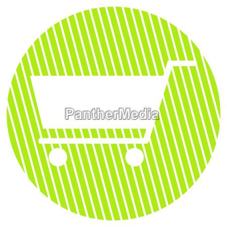 gestreifter kreis einkaufswagen symbol