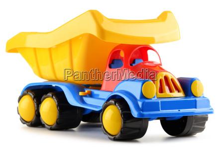 brinquedo plastico colorido do caminhao isolado
