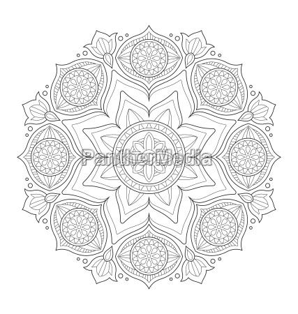 mandala illustration fuer erwachsene faerbung