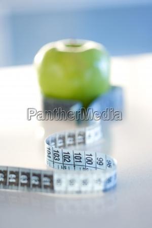 messband, um, grünen, apfel, gewickelt, nahaufnahme - 16631970