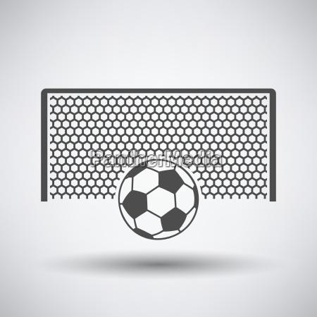 fussball tor mit ball auf strafpunkt