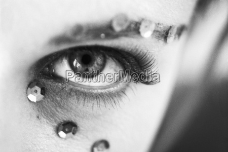 close up of womans eye with