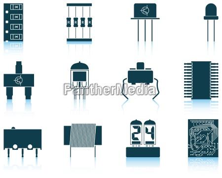 set von elektronischen komponenten symbole