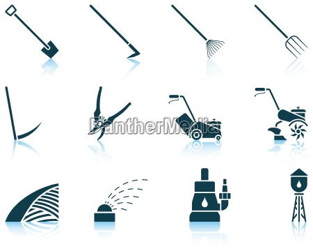 set von gartenarbeit icons