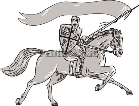 ritter reitpferde schild lance flagge retro