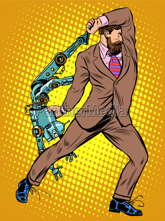 cyclops geschaeftsmann gegen einen roboter