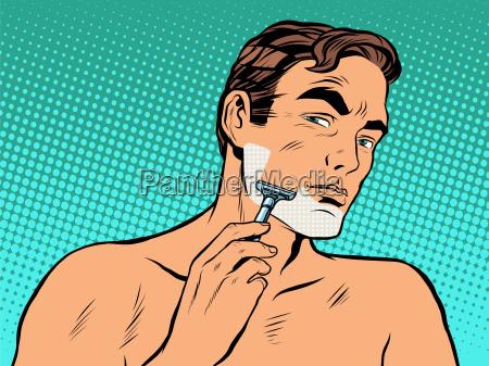 man shaving foam