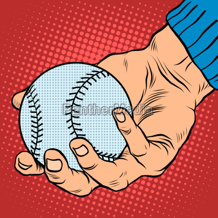 the hand with a baseball