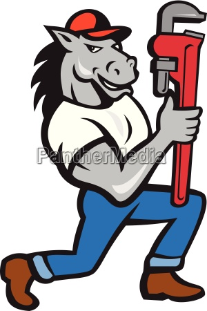 horse plumber kneeling monkey wrench cartoon