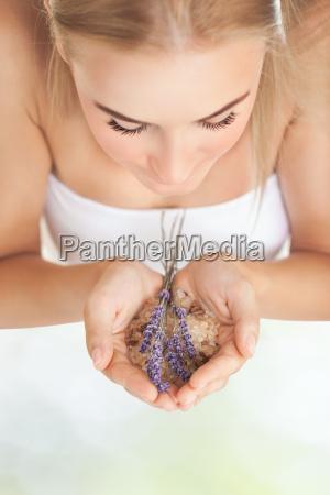 pretty girl enjoying aromatherapy