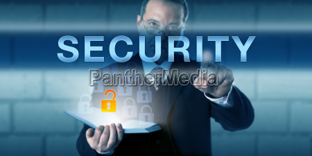 business director pointing out security