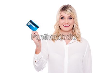 business lady showing debit card
