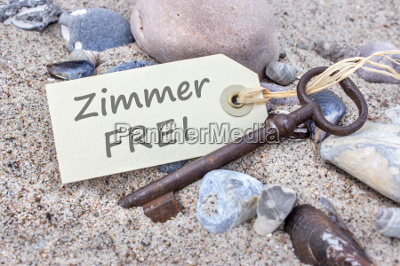old key and card with german