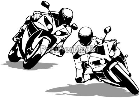 motorrad radfahrer set
