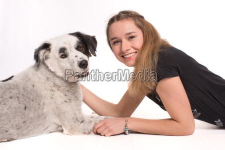 dog love of animals caress girl