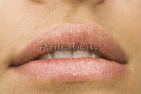 young womans mouth close up
