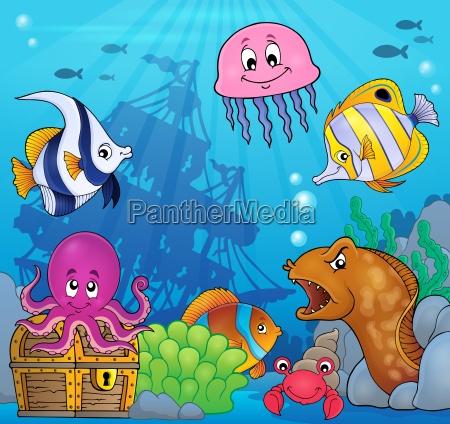 underwater ocean fauna theme 8