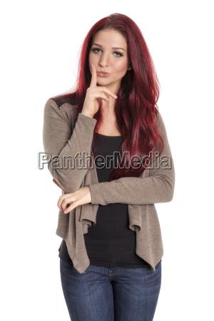woman meditative hairdo business dealings deal