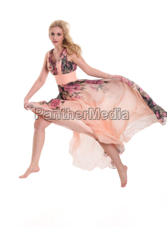 young woman in barefoot wearing a
