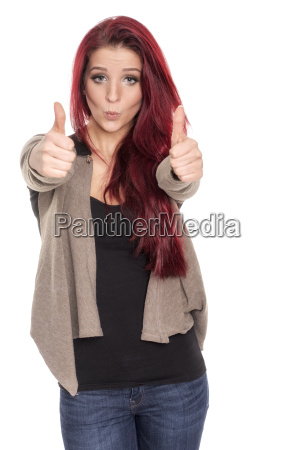 beautiful woman with red hair shows