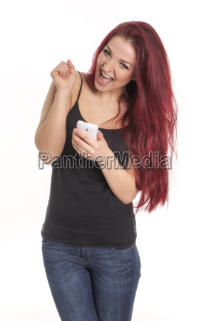 redhead pretty girl with cell phone