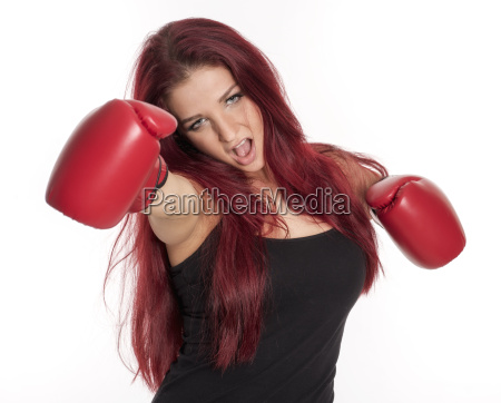 red haired young woman is wearing