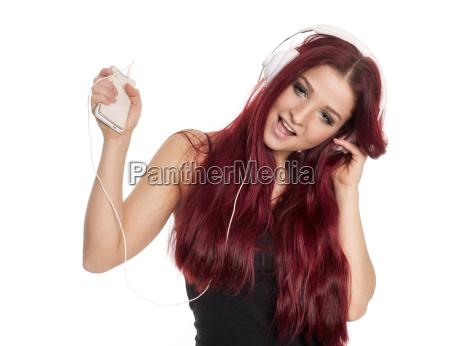 rothaariges, schönes, mädchen, mit, kopfhörer, und - 16685108