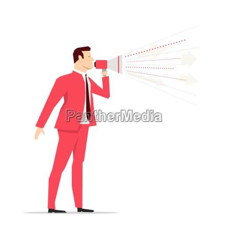 red anzug geschaeftsmann megaphon vektor konzept