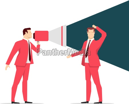 red suit businessman shouting vector concept