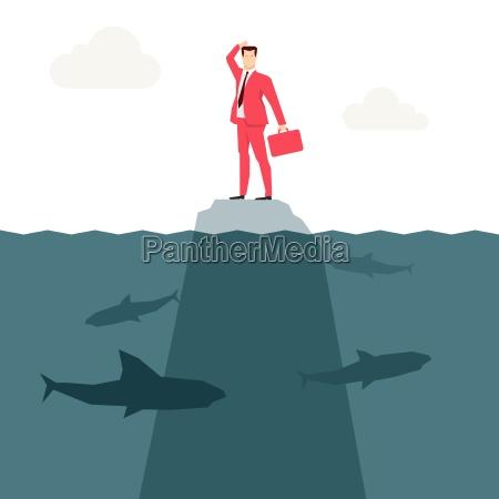 red anzug geschaeftsmann und haie vektor