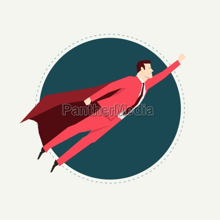 businessman in red suit super hero