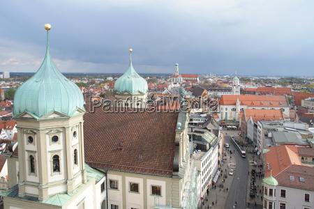 ausblick vom perlachturm in augsburg