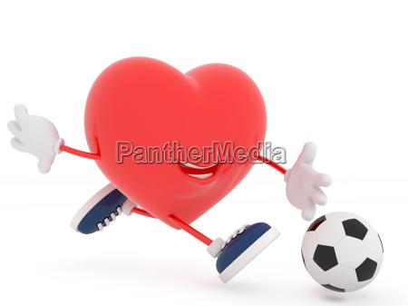 cute soccer player heart on white