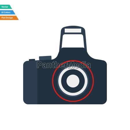 flat design icon of photo camera