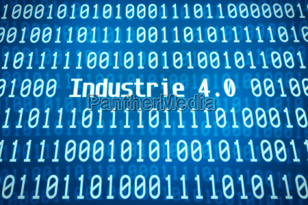 binaercode mit dem wort industrie 40