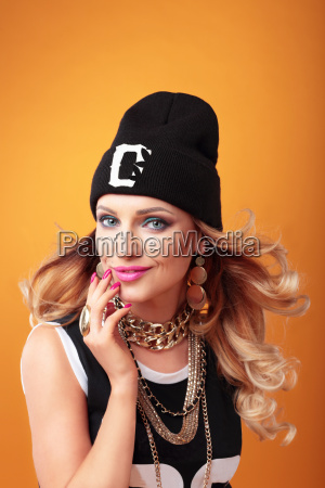 hip hop woman in cap