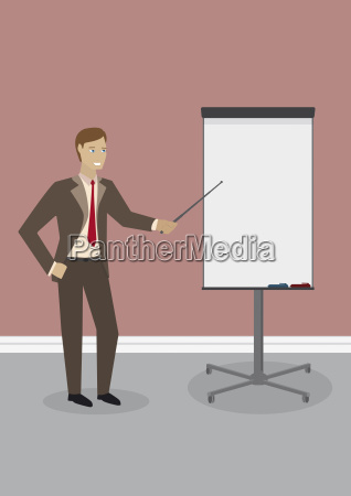 businessman standing at flip chart illustration