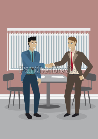two businessmen shaking hands illustration